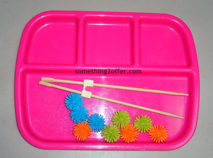 spiky balls and chopsticks