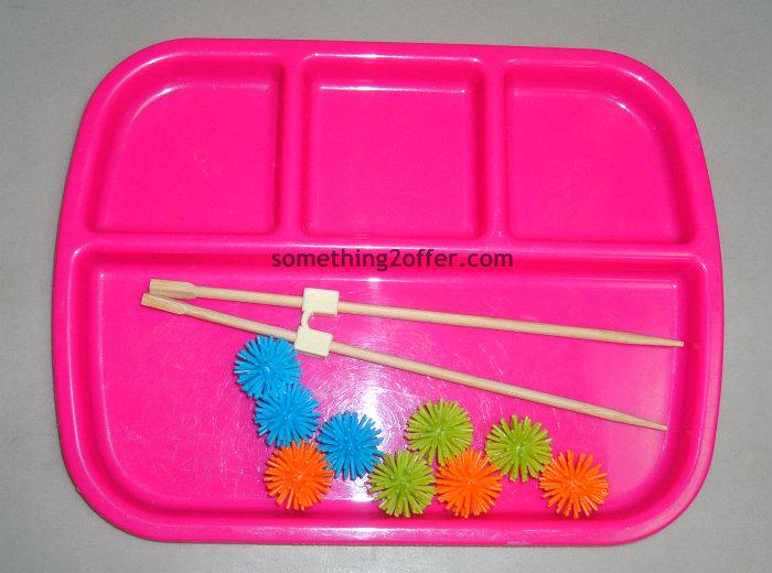 spiky balls and chopsticks