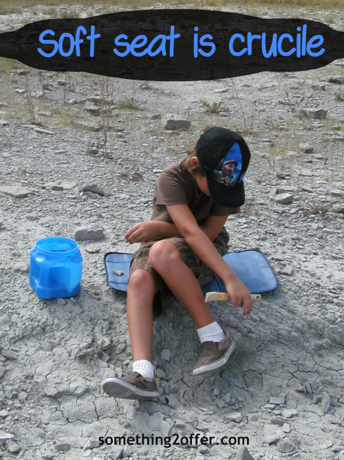 diaper pad used as sitting pad for fossil hunt
