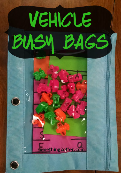 ABC vehicle beads in busy bag