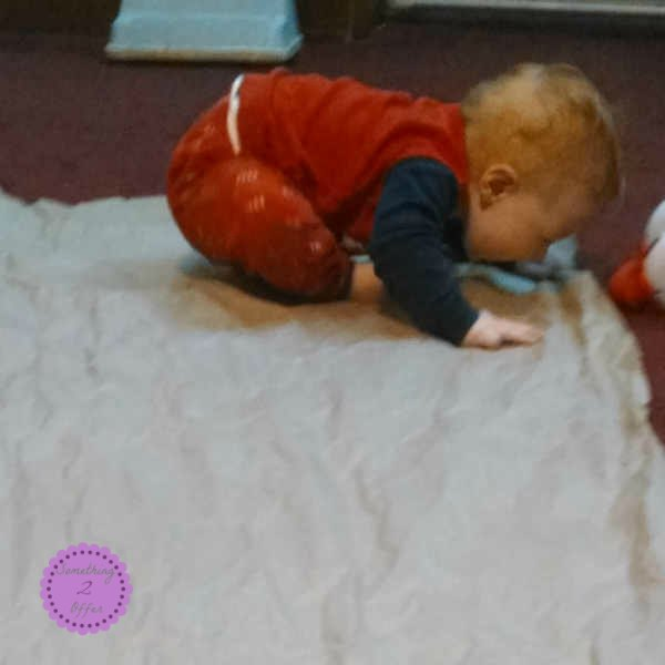 brown paper sensory activity for baby