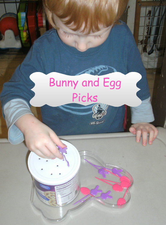 bunny and egg pick fine motor practice