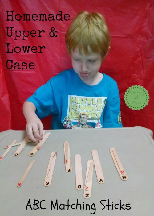 homemade ABC matching sticks