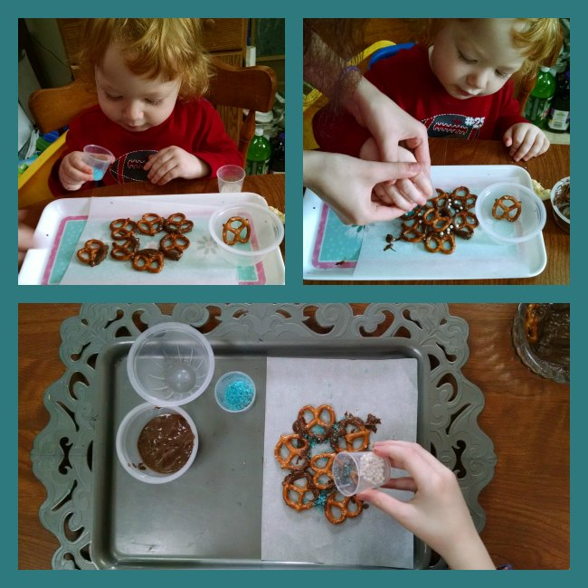 Chocolate Pretzel Snowflakes