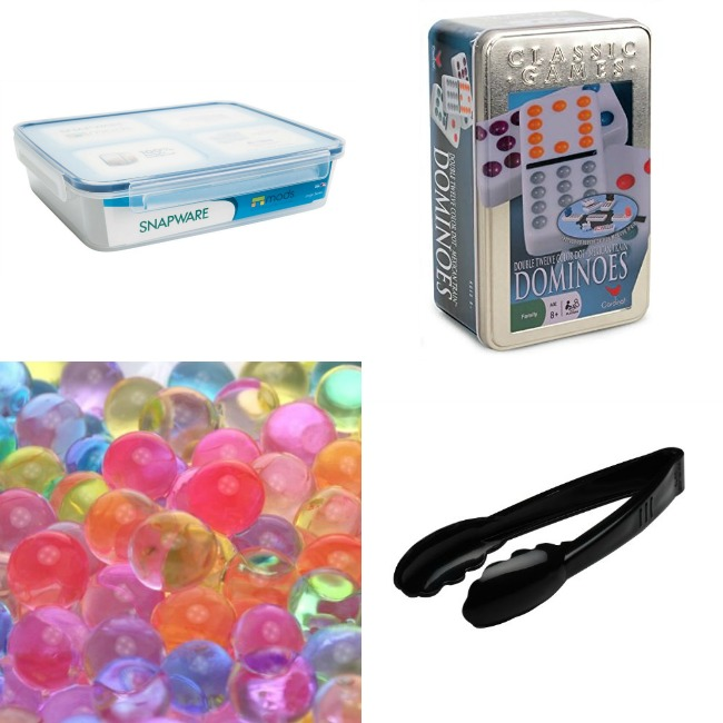 dominoes tongs water beads container