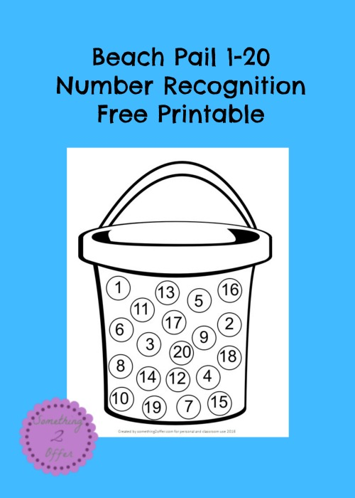 Beach Pail 1-20 Number Recognition