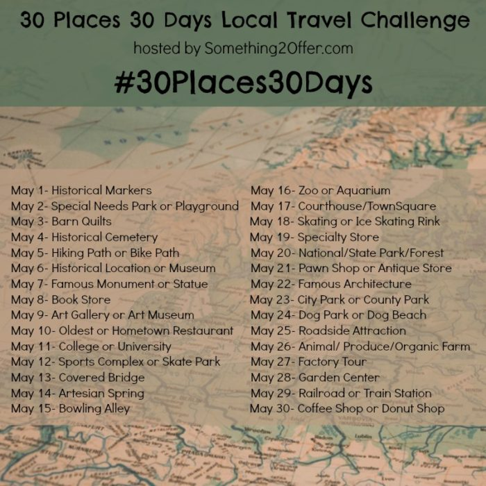30 places 30 days