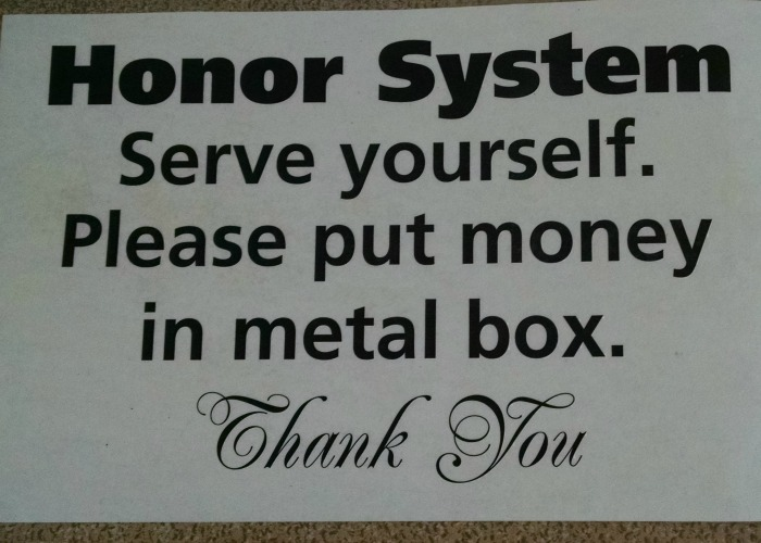 Honor System Sign