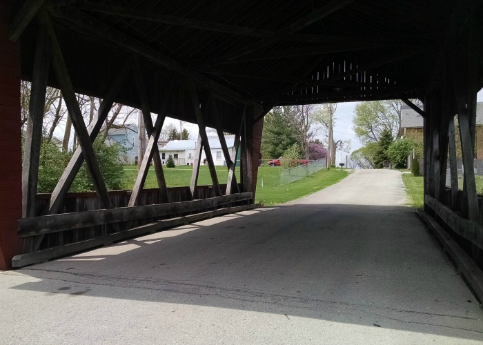 Looking through Fletcher Covered Bridge