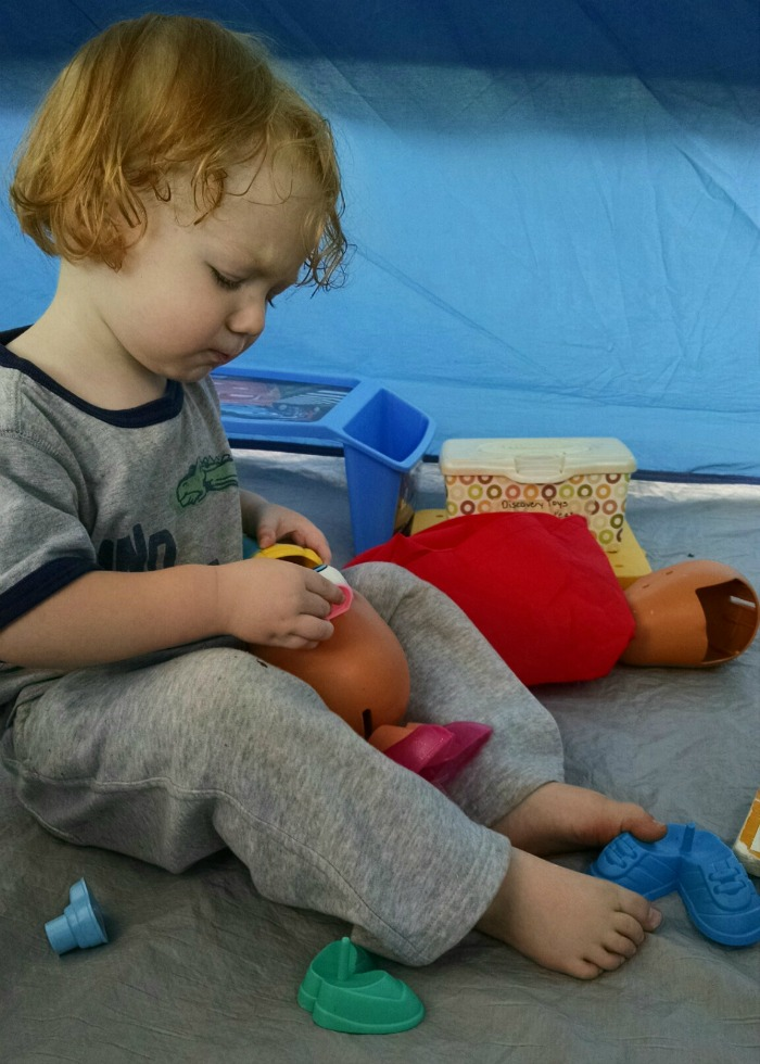 Lil' Red Mr. Potato Head in tent
