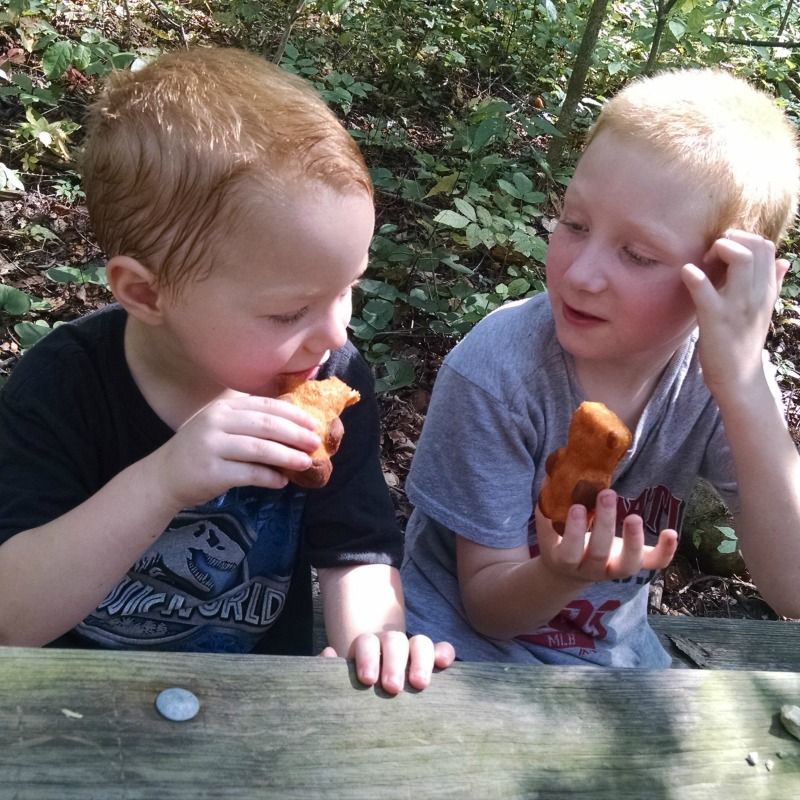 boys eating teddy soft bakes
