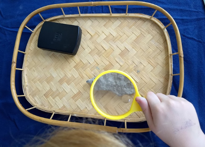 using magnifying glass to inspect fossil