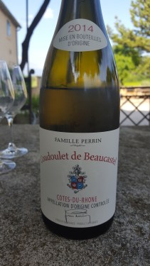 2014 Coudoulet de Beaucastel blanc; cream, apple, pear, melon, vanilla, toast, elegant and refined.