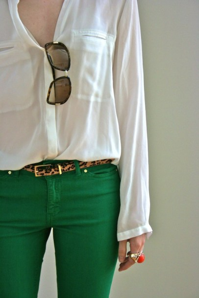kemerli-yesil-pantolon-modelleri