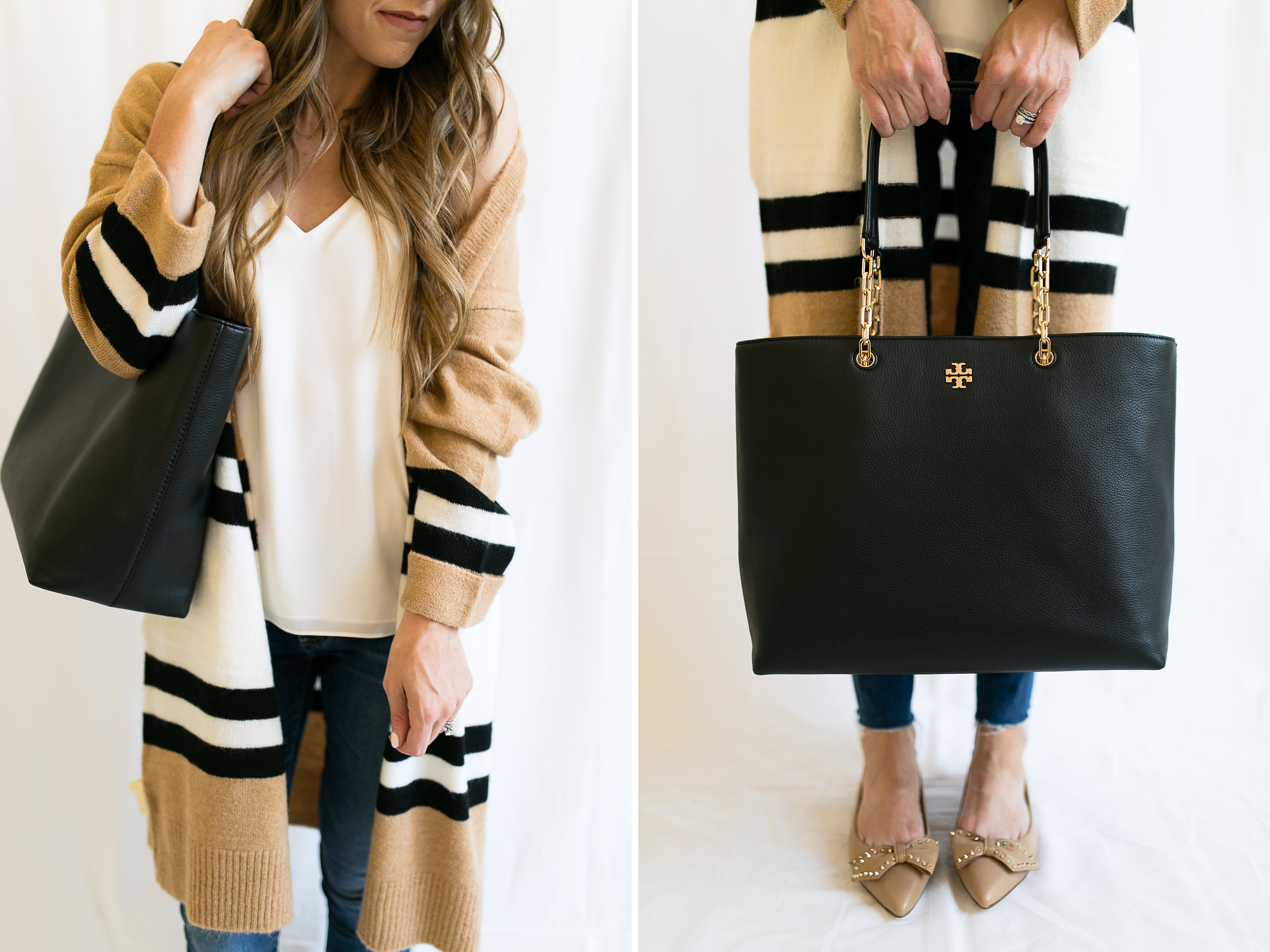 One of the best handbags of the Nordstrom Anniversary Sale 2017 is the Tory Burch Frida Pebbled Leather Tote and it pairs so well with these nude Sam Edelman Raisa Bow Flats