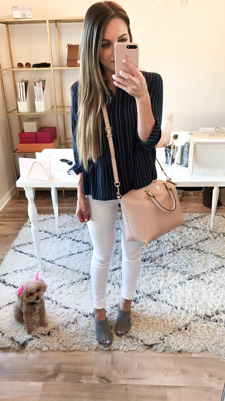 Daryl-Ann Denner wears a caslon peplum top and Tory Burch frida satchel from the nordstrom anniversary sale 2017