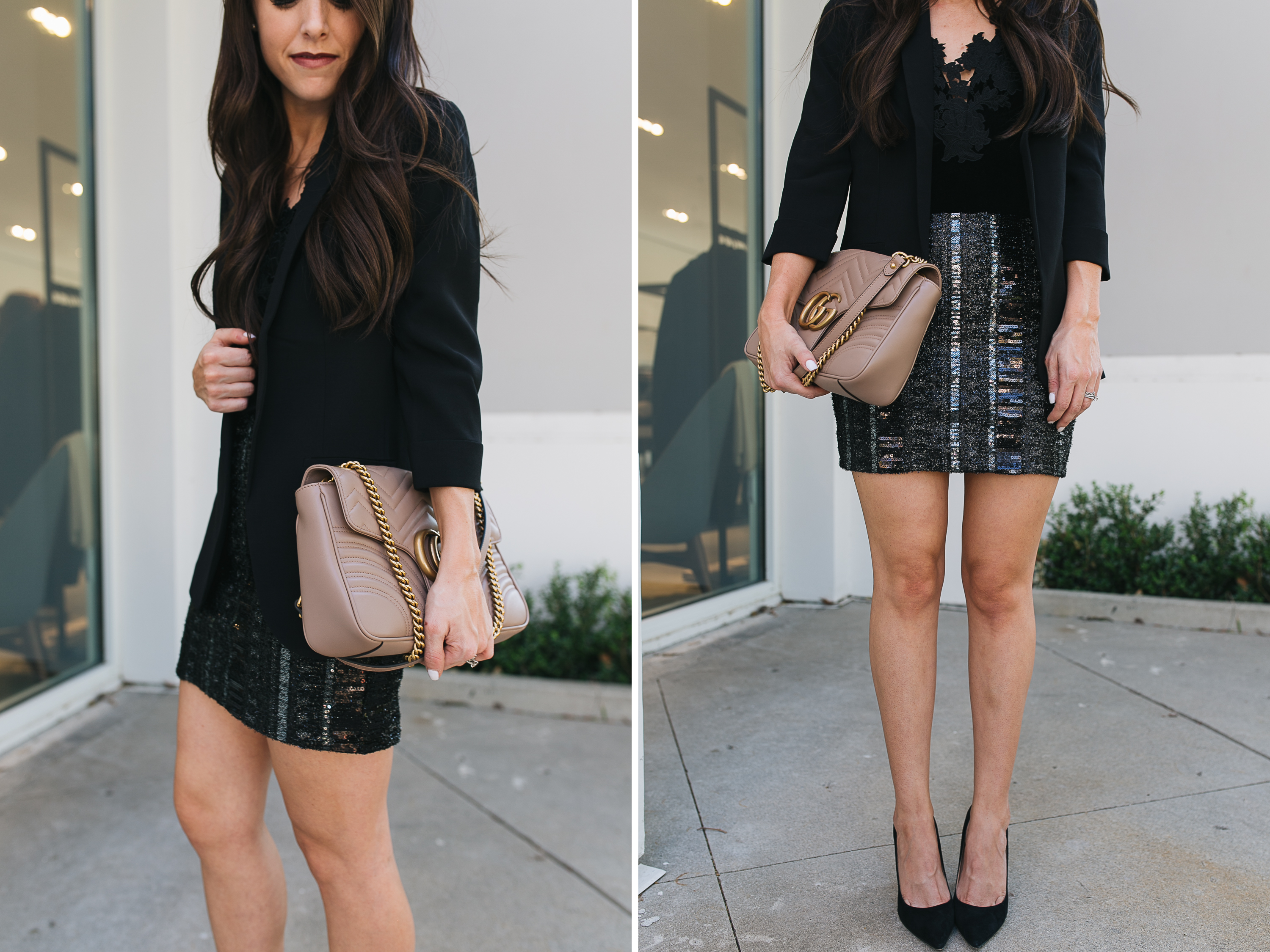 Style blogger Daryl-Ann Denner shares holiday party outfit ideas with Express, including a lace and velvet bodysuit with boyfriend blazer and mini skirt and gucci marmot bag