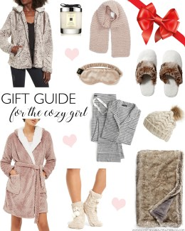 style blogger daryl-ann denner shares gift ideas for the cozy girl for christmas gifts including slippers, pajamas, robes, and throw blankets