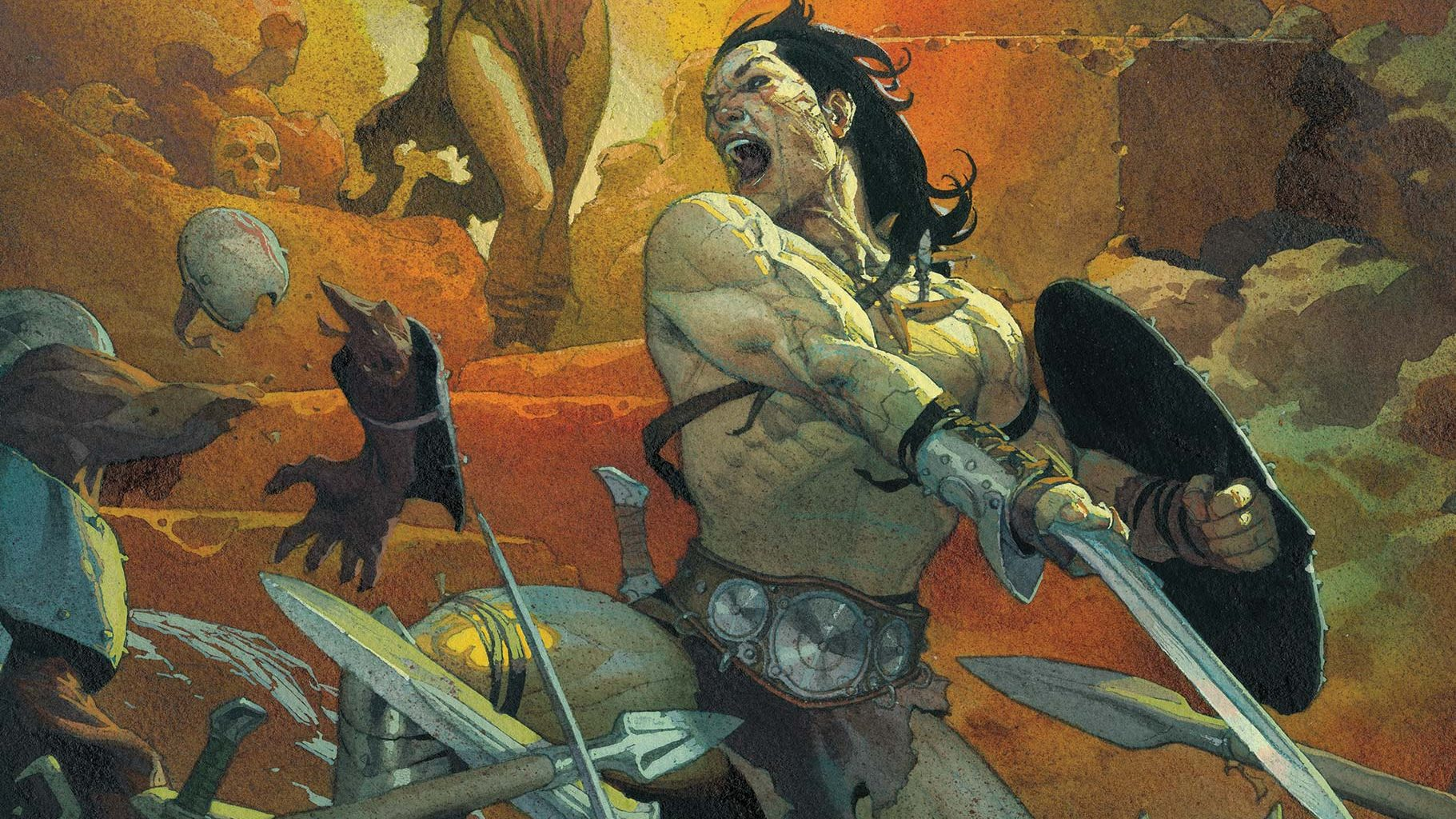 Conan the Barbadian is mid battle with a deadly sorceress behind him.