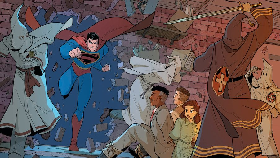 Superman Smashes the Klan: Doing what he does best.