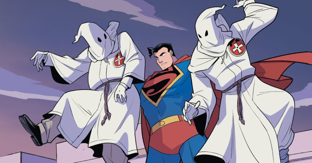 Superman Smashes the Klan: He's doing what the title suggests.