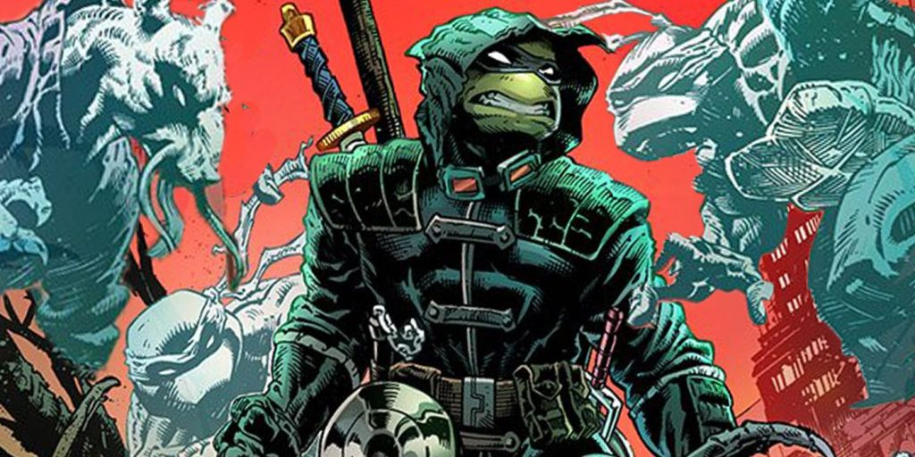 Mikey, the ninja turtle, stands alone, surrounded by ghost on the cover of an the third issue of TMNT: The Last Ronin.