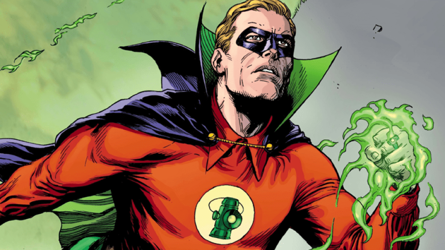 Green Lantern, Alan Scott, flies up, up, and away.