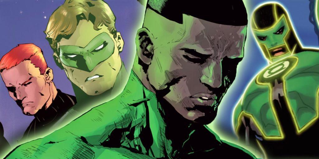 The Green Lanterns who play a big part in this series, John Steward, Hal Jordan, Simon Baz, and Guy Gardener.
