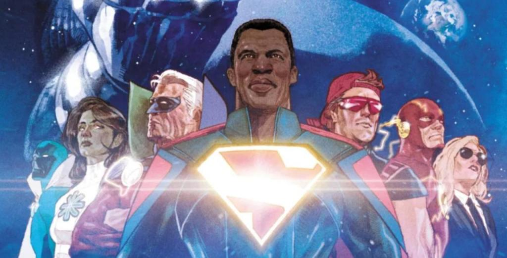 The cover of Infinite Frontier with, the members of Justice Incarnate and the Totality underneath the shadow of Darkseid.