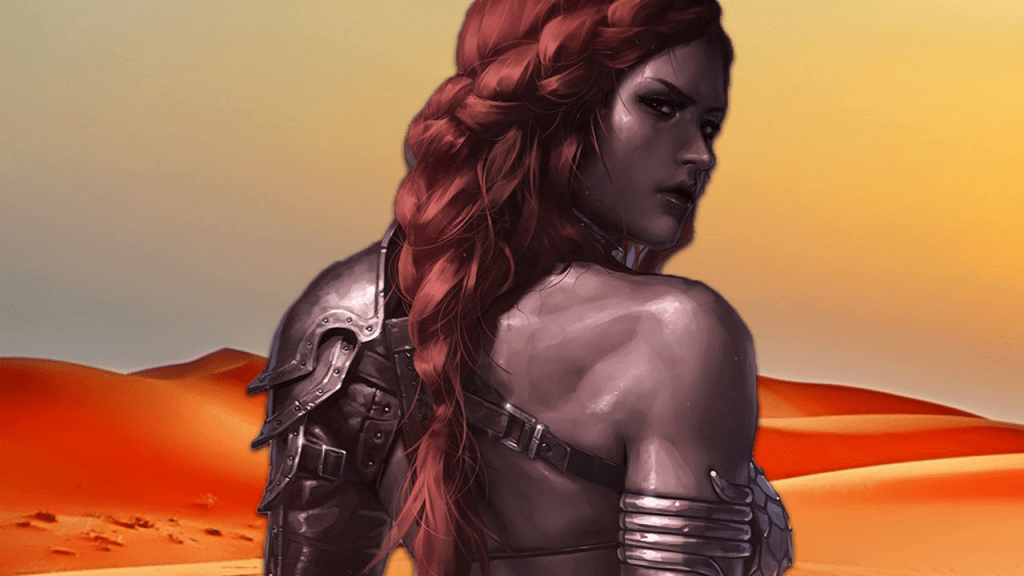 Red Sonja: The She-Devil with a Sword stands with her back turned to us.