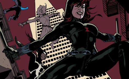 Black Widow (Natasha Romanoff) leaps off a building, with Yelena (Black Widow), Anya (Spider-Girl), and Lucy behind her.