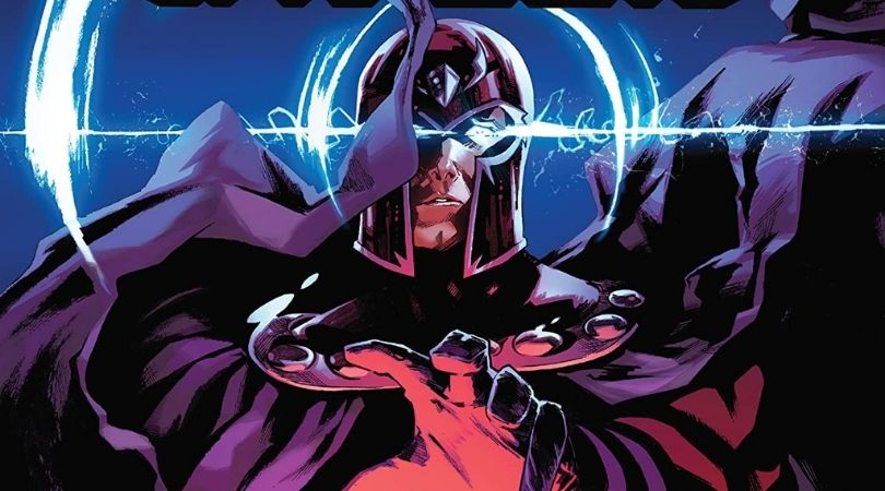 The cover of the Trial of Magneto, Magneto reaches towards the viewer.