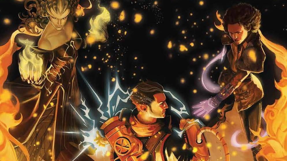 The three planeswalkers stand together against fire.