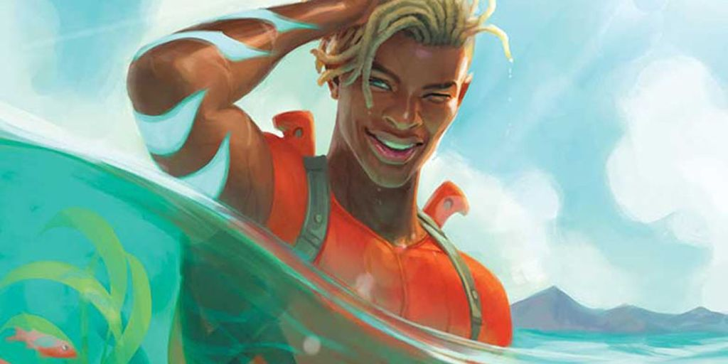 The new Aquaman stands up, mostly submerged by water, smiling at the reader.
