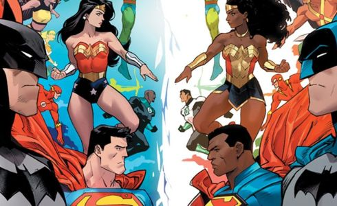 On the cover of Justice League: Infinity, we have the Justice League opposite their Justice Alliance counterparts. Batman opposite Batman, Superman opposite Superman, and Wonder Woman opposite Wonder Woman, each in different costumes.