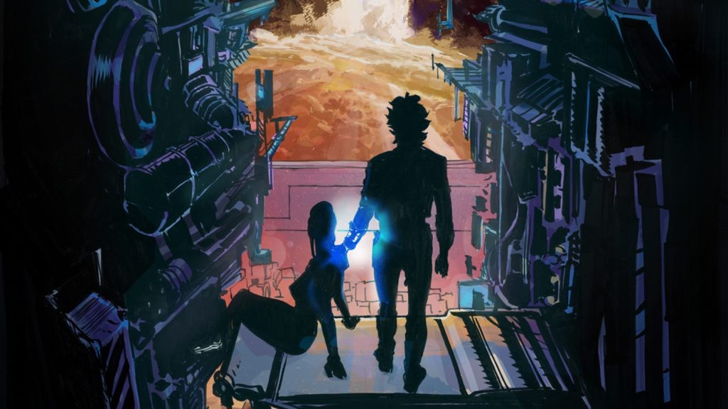 There are two silhouettes of the two main characters of The Saturn Effect: Alpha as they sit inside some metal construction.