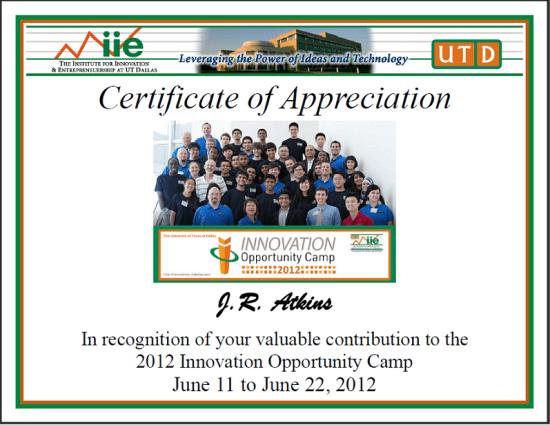 Consultant J.R. Atkins gets appreciation from UTD Innovation Camp