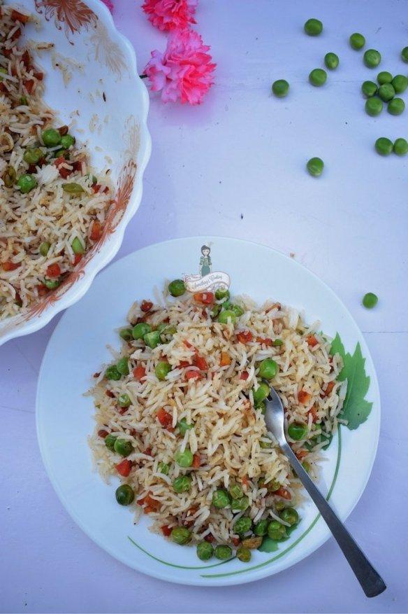 Carrot Green Peas Rice Pulao Recipe
