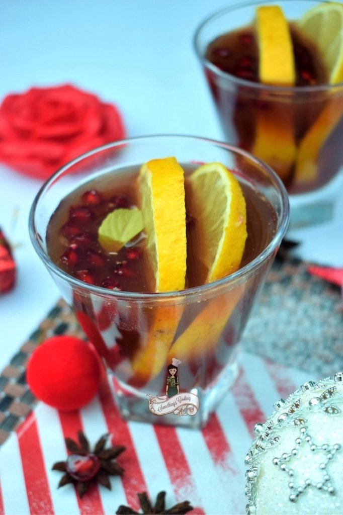Winter Sangria with wine citrus pomegranate apples