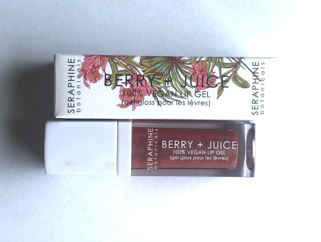 vegan lipgloss in rose currant color. Floral packaging