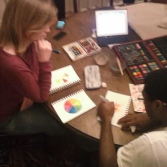 Tera giving a watercolor lesson