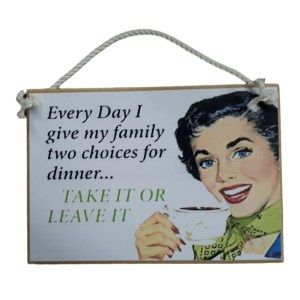 Country Printed Quality Wooden Sign With Hanger 2 Choices For Dinner Plaque New
