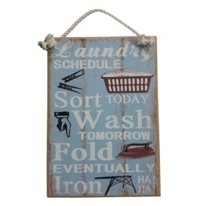 Country Printed Quality Wooden Sign LAUNDRY SCHEDULE Funny Inspiring Plaque New
