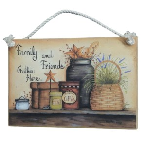 Country Printed Quality Wooden Sign FAMILY AND FRIENDS GATHER HERE Plaque New