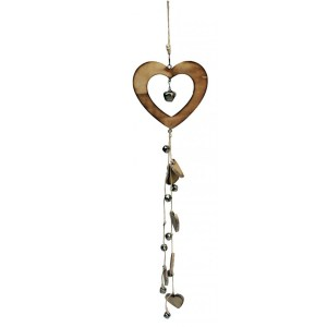 French Country Wooden Heart With Bells And More Hearts New