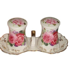 PINK ROSE WITH TRAY SALT & PEPPER SET