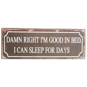 French Country Wall Art Tin Sign DAMN I'M GOOD IN BED New
