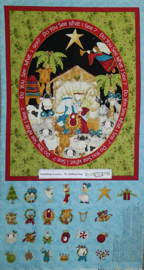 Country Patchwork Quilting Fabric - Do you See Advent Xmas - Panel 60x110cm New