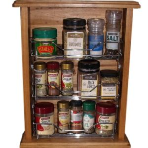 French Country Vintage Inspired Timber Wooden Spice Rack with Metal Insert New