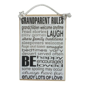 Country Printed Quality Wooden Sign GRANDPARENT RULES Black White New Plaque Say